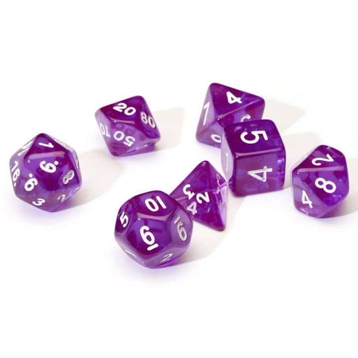Sirius Dice - Purple Translucent 7 Die Set