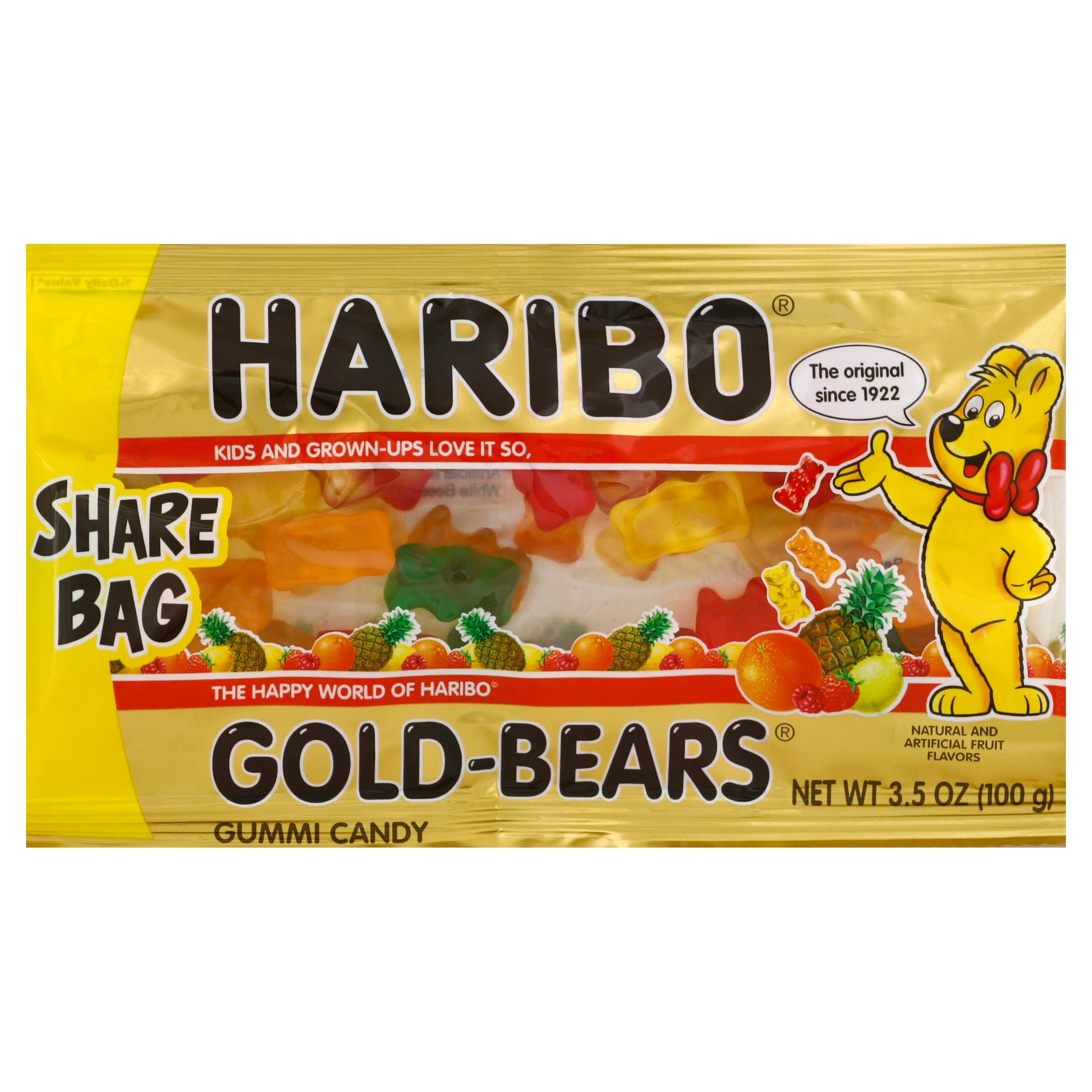 Haribo Gummi Candy, Gold- Bears, Share Bag - 3.5 oz