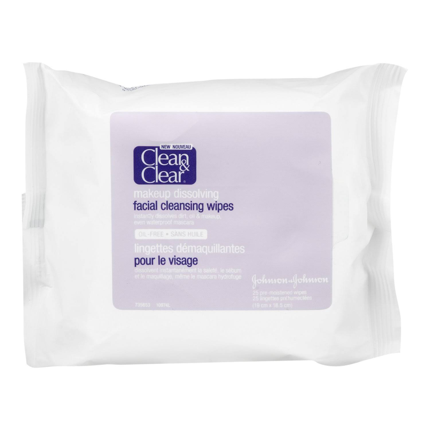 Clean and Clear Makeup Dissolving Facial Cleansing Wipes - 25ct