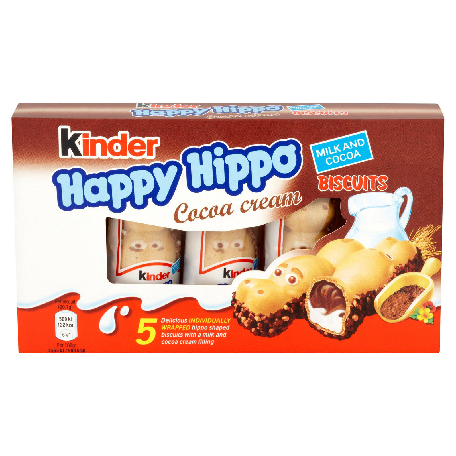 Kinder Happy Hippo Biscuits - Cocoa Chocolate Cream, 20.7g, 5pk