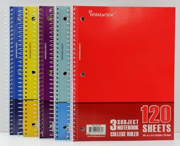 Notebook - 120 Sheets - 3 Subject - College Ruled