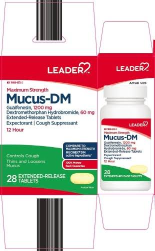 Leader Maximum Strength Mucus-DM 12 Hour Extended Release Tablets, 28 Count