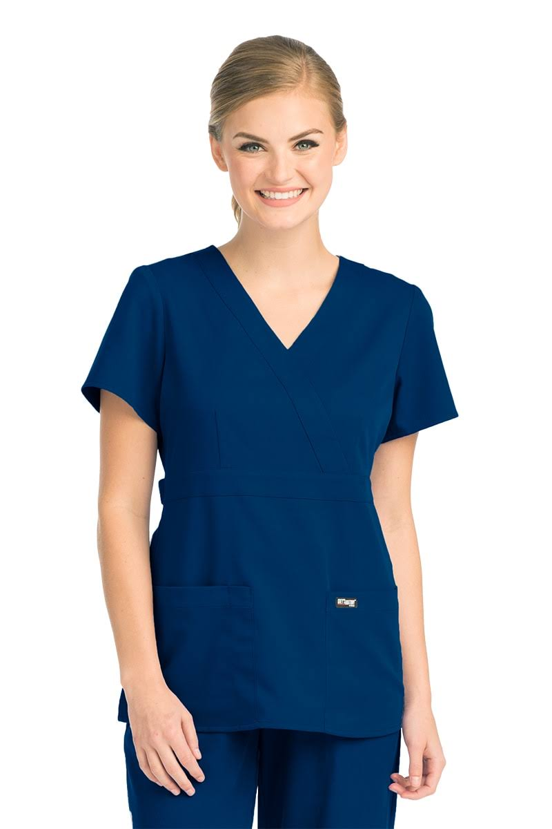 Grey's Anatomy Women's Junior Mock Wrap Solid Scrub, XS, Indigo
