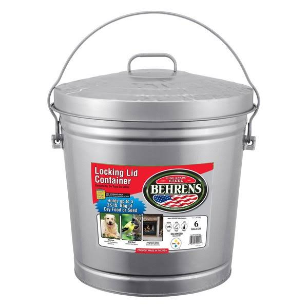 Behrens Galvanized Garbage Pail - with Cover, 6 Gallon