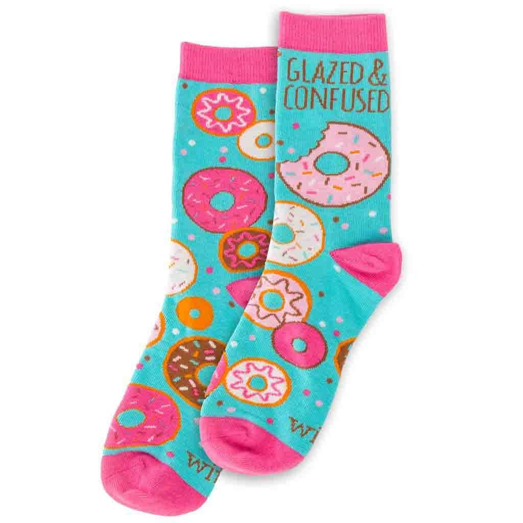 Stephen Joseph Wit Gifts Womens Novelty Crew Socks - Donut Glazed and Confused, One Size