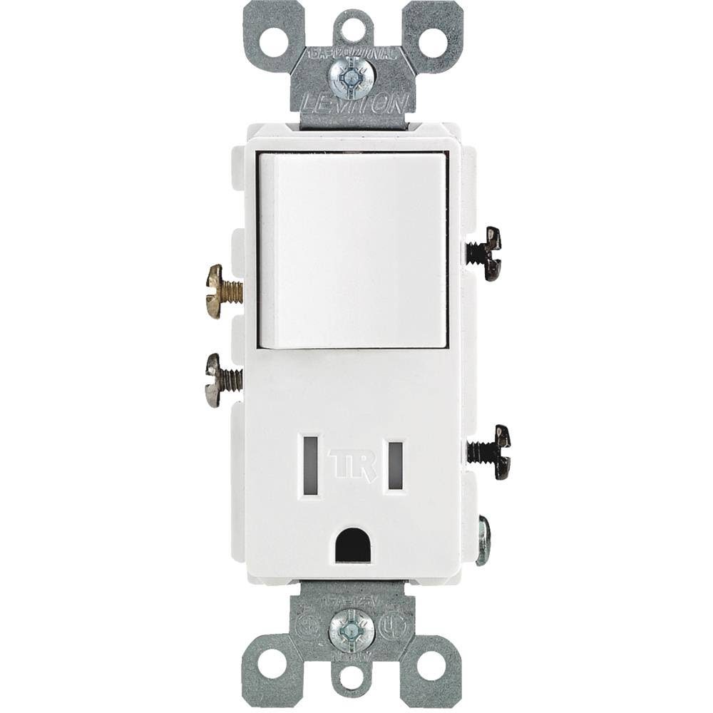 Leviton Decora Combination Switch and Tamper Resistant Outlet - 15A, White
