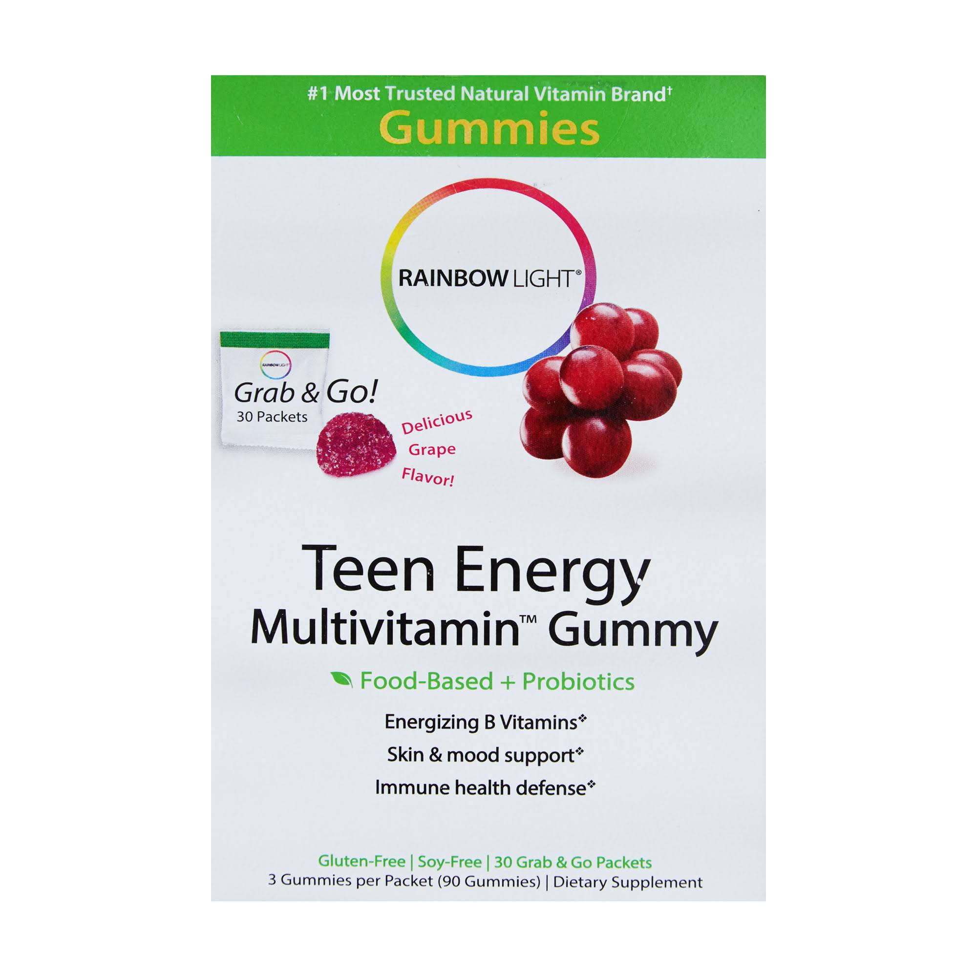 Rainbow Light Teen Energy Multivitamin Gummy - Grape Flavor, 30 Packets