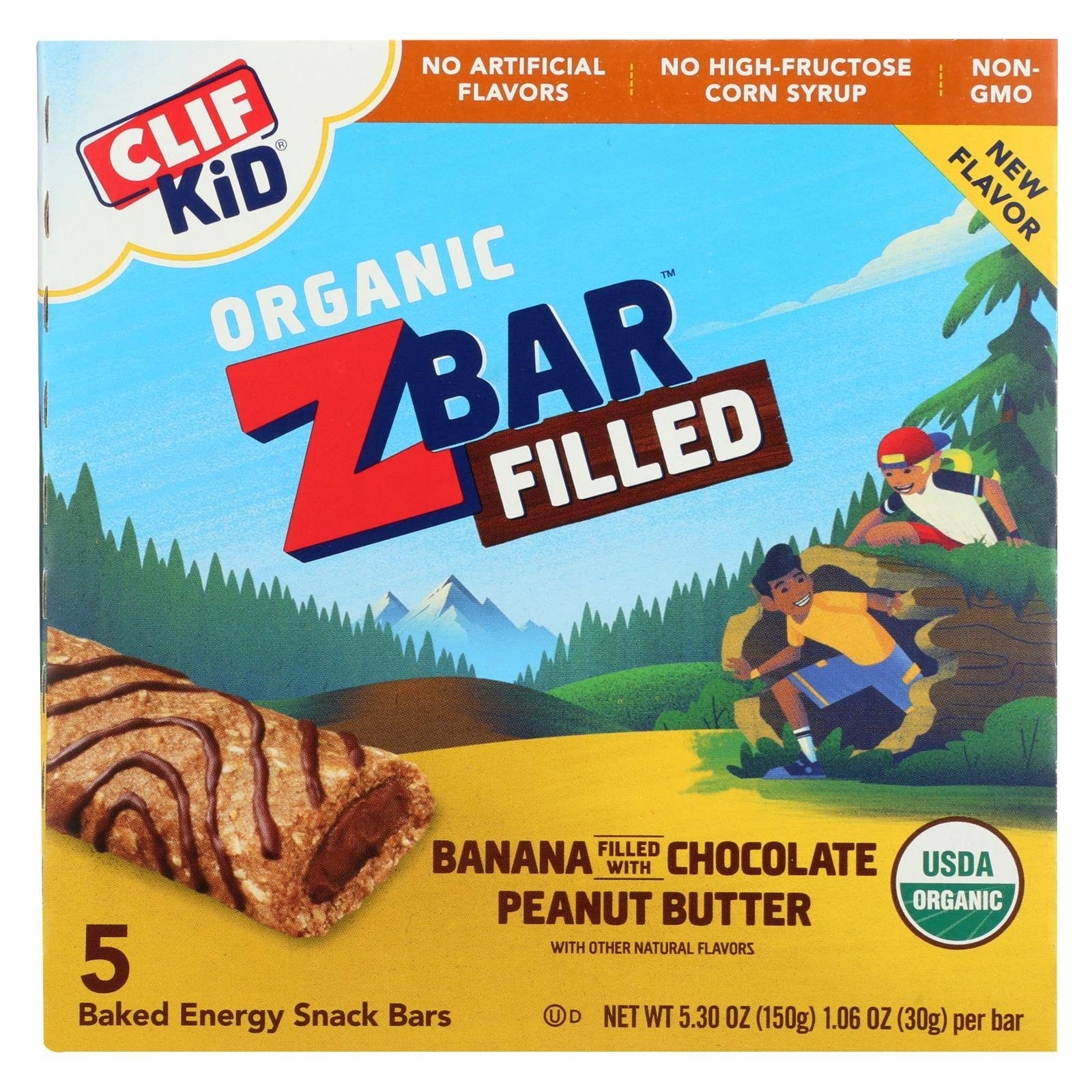 Clif Kid Zbar Filled Baked Energy Snack - Banana with Chocolate Peanut Butter, 30g, x5