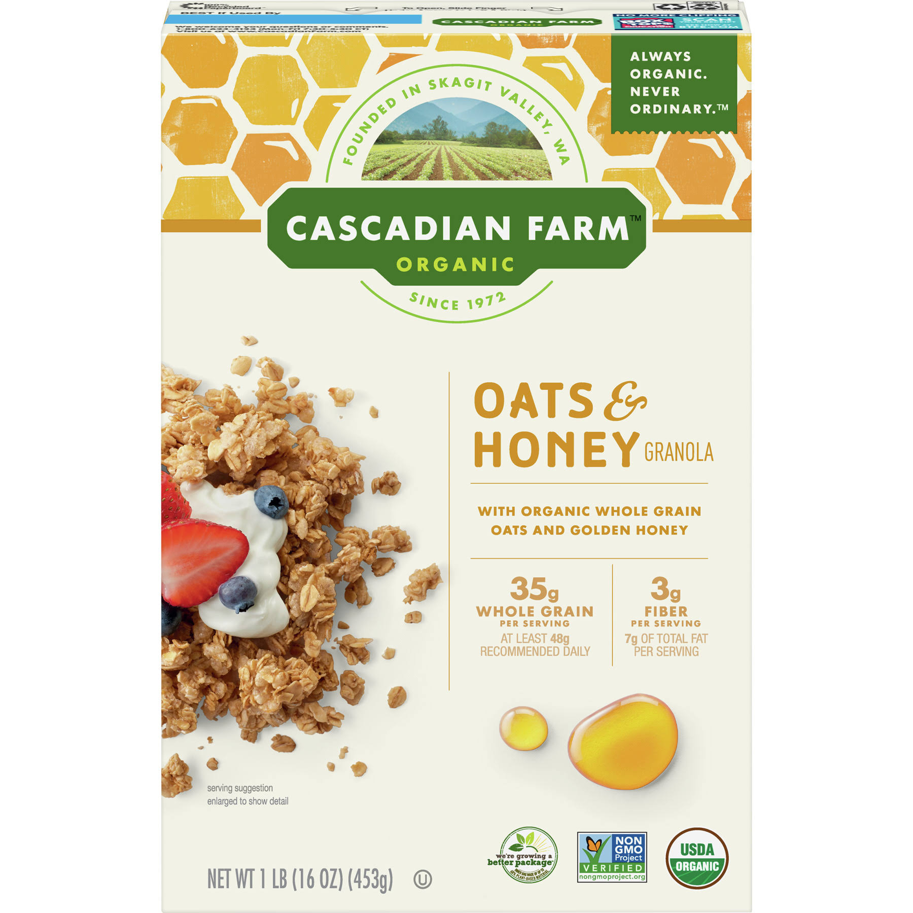 Cascadian Farm Organic Granola - 453g, Oats & Honey