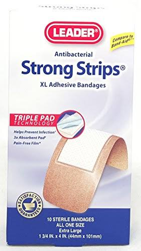 Leader Strong Strips XL Adhesive Bandage - 10 Pack