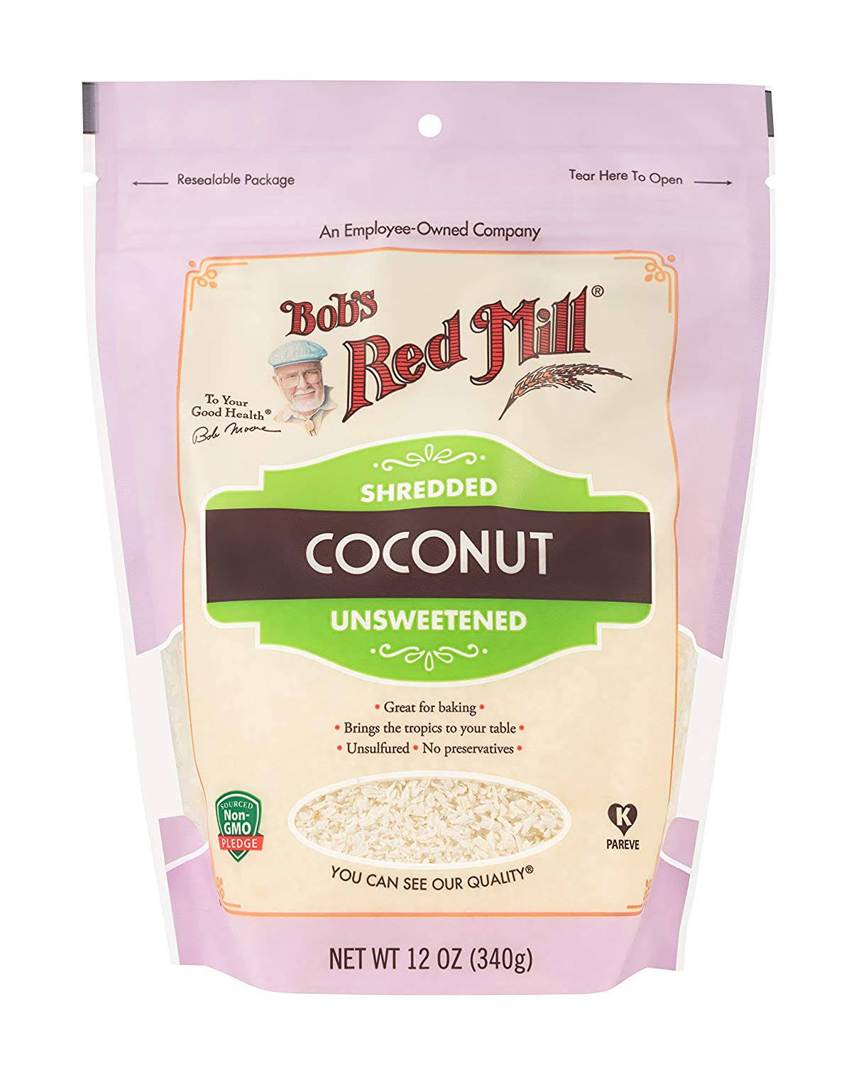 Bobs Red Mill Coconut, Unsweetened, Shredded - 12 oz