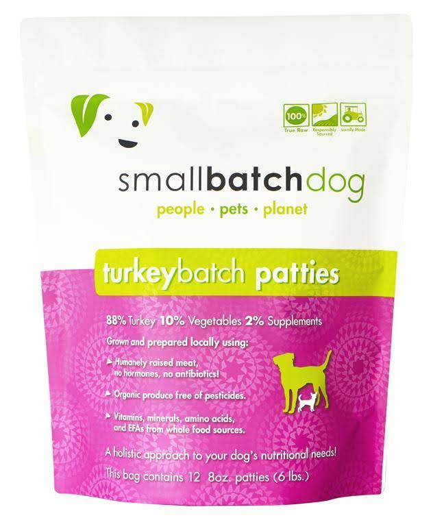 Smallbatch Pets Raw Frozen Sliders Dog Food 3lb Turkey