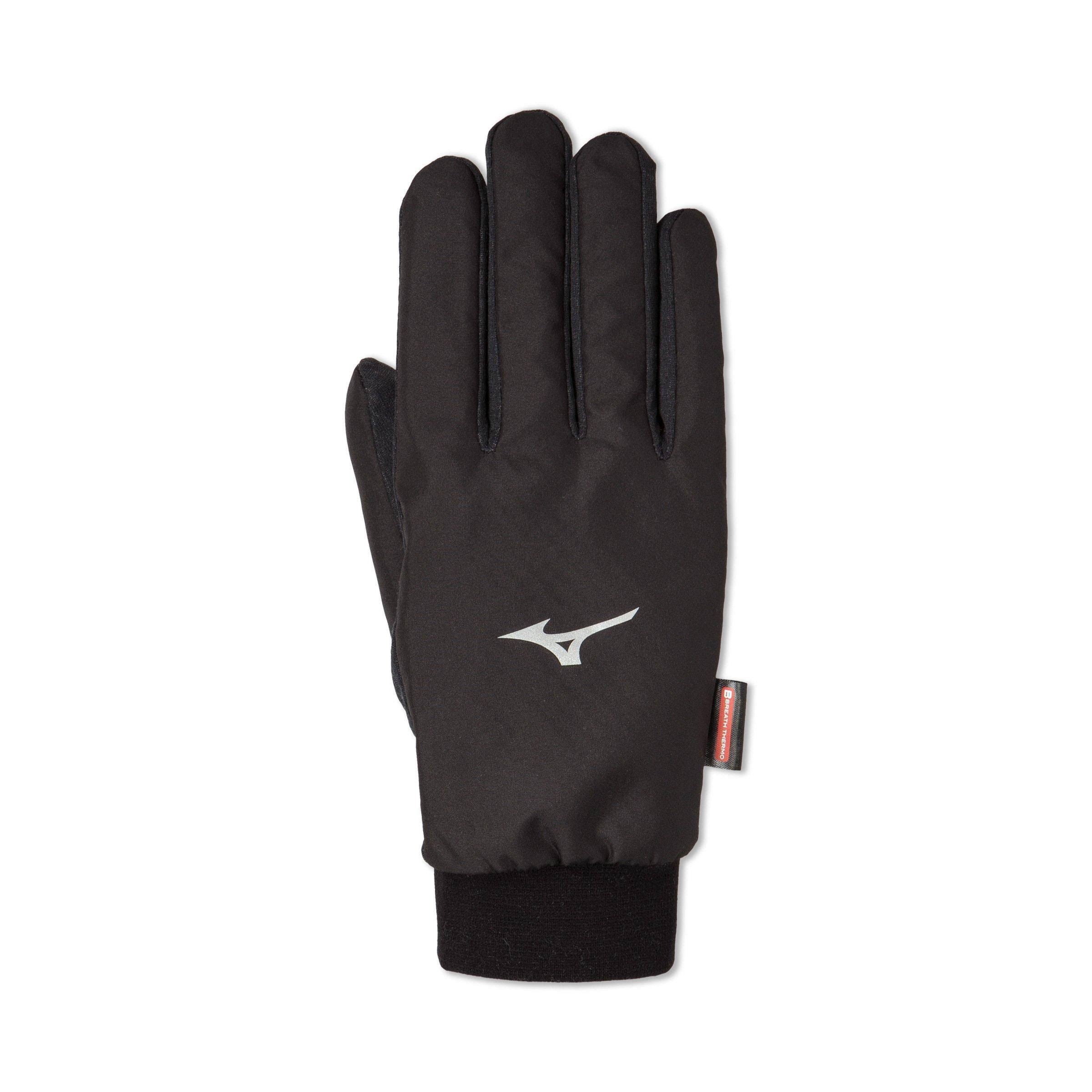 Mizuno - Breath Thermo Wind Guard Gloves, Black, Size Large