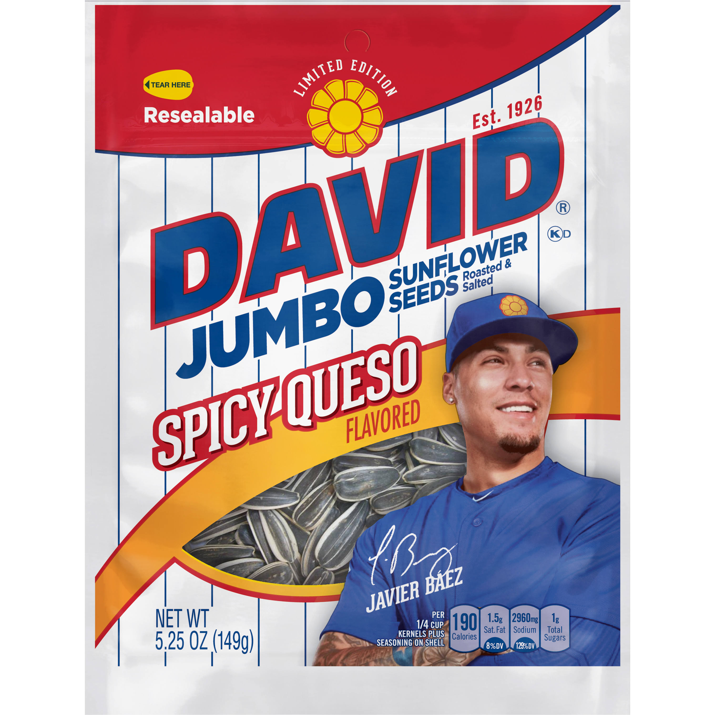 David Sunflower Seeds, Salted & Roasted, Spicy Queso, Jumbo - 5.25 oz