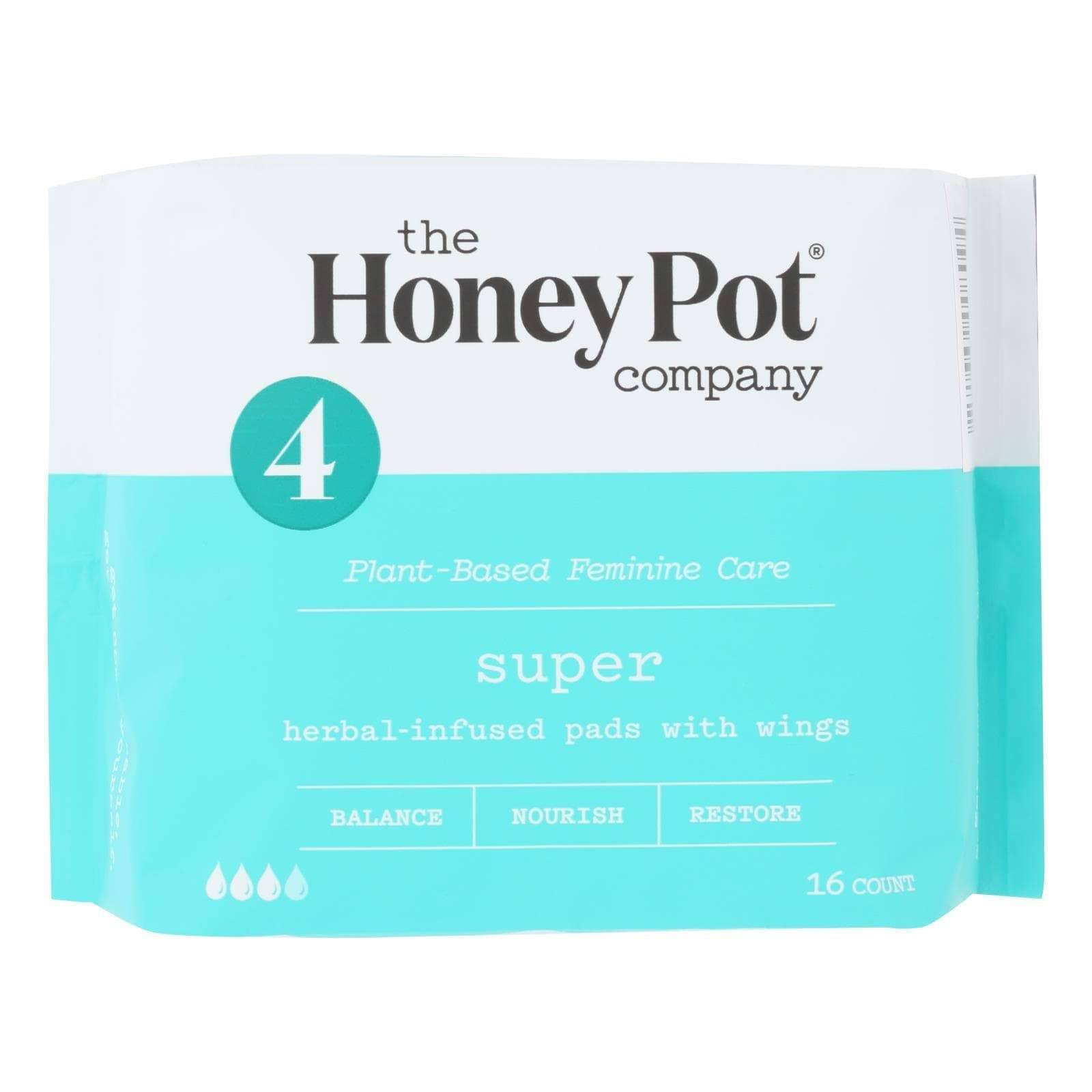 The Honey Pot Feminine Pads - with Wings, 16ct