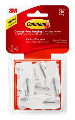 3M Command Wire Toggle Hook - 7ct, White, Medium