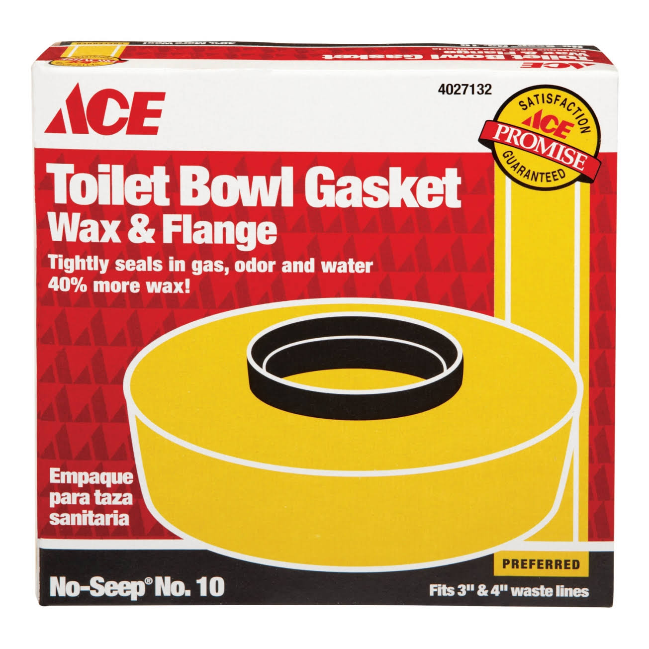 Ace Toilet Bowl Gasket with Wax & Flange