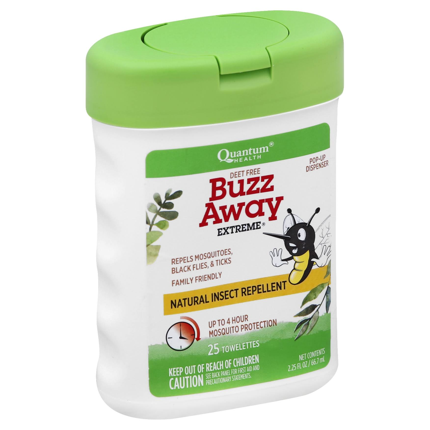 Quantum Health Buzz Away Extreme Natural Insect Repellent Towelettes - 25 Count