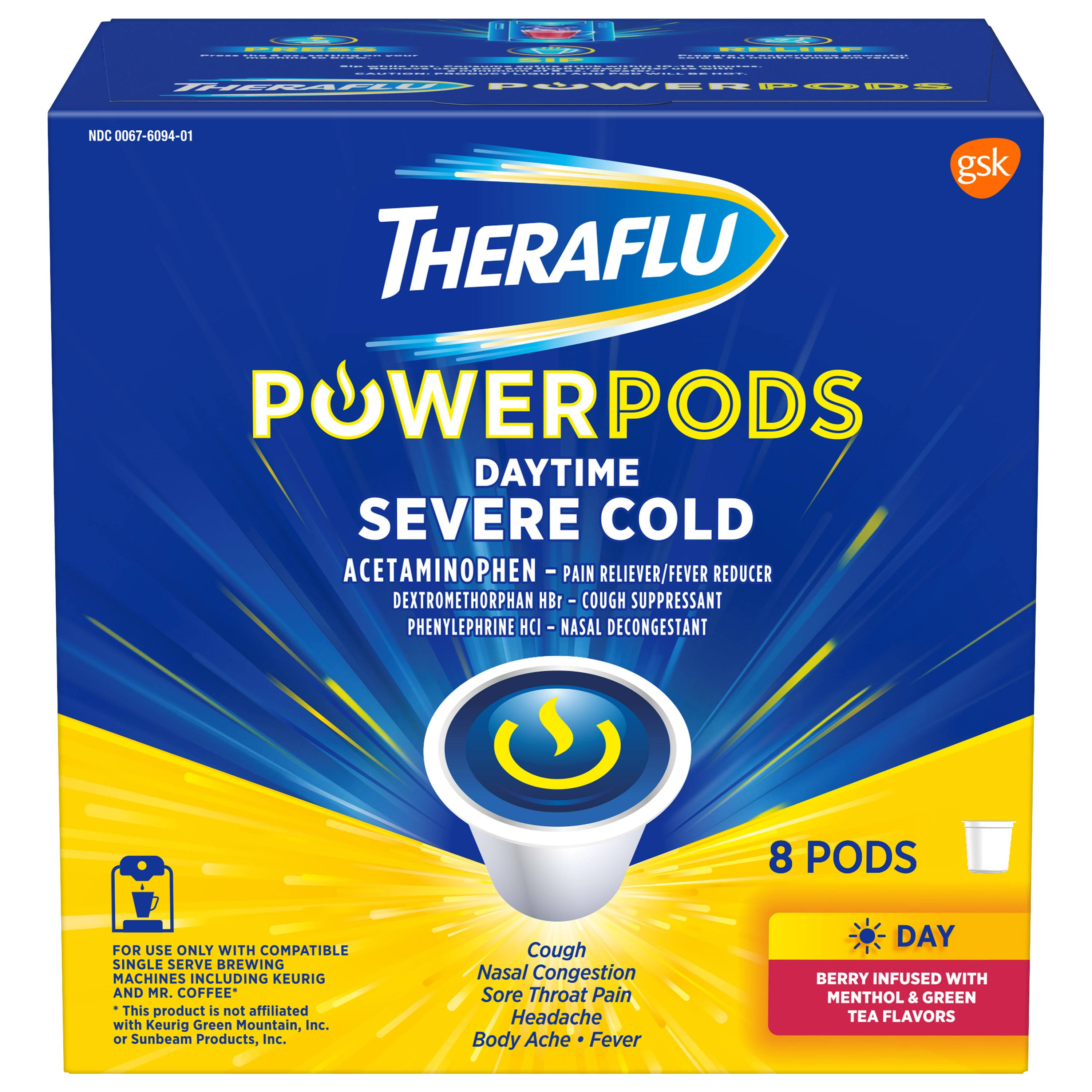 Theraflu PowerPods Daytime Severe Cold Medicine, Berry with Menthol & Green Tea