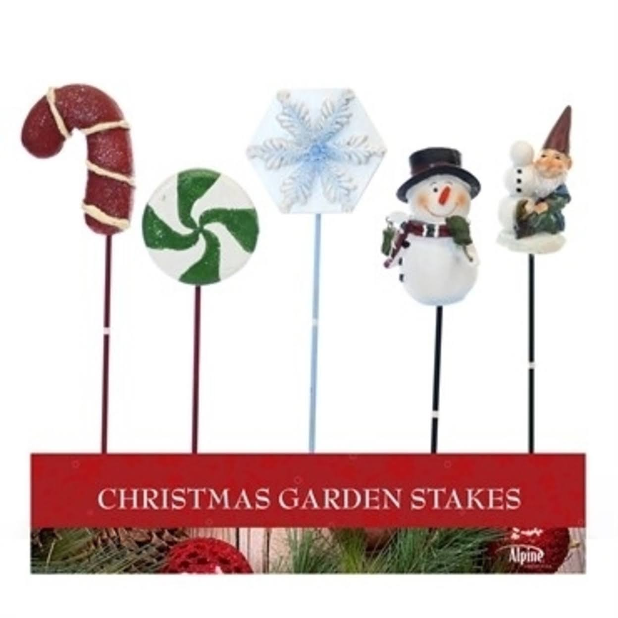 Alpine ZEN202ABB 9 in. Christmas Garden Stakes Tray Assorted - Pack of 20