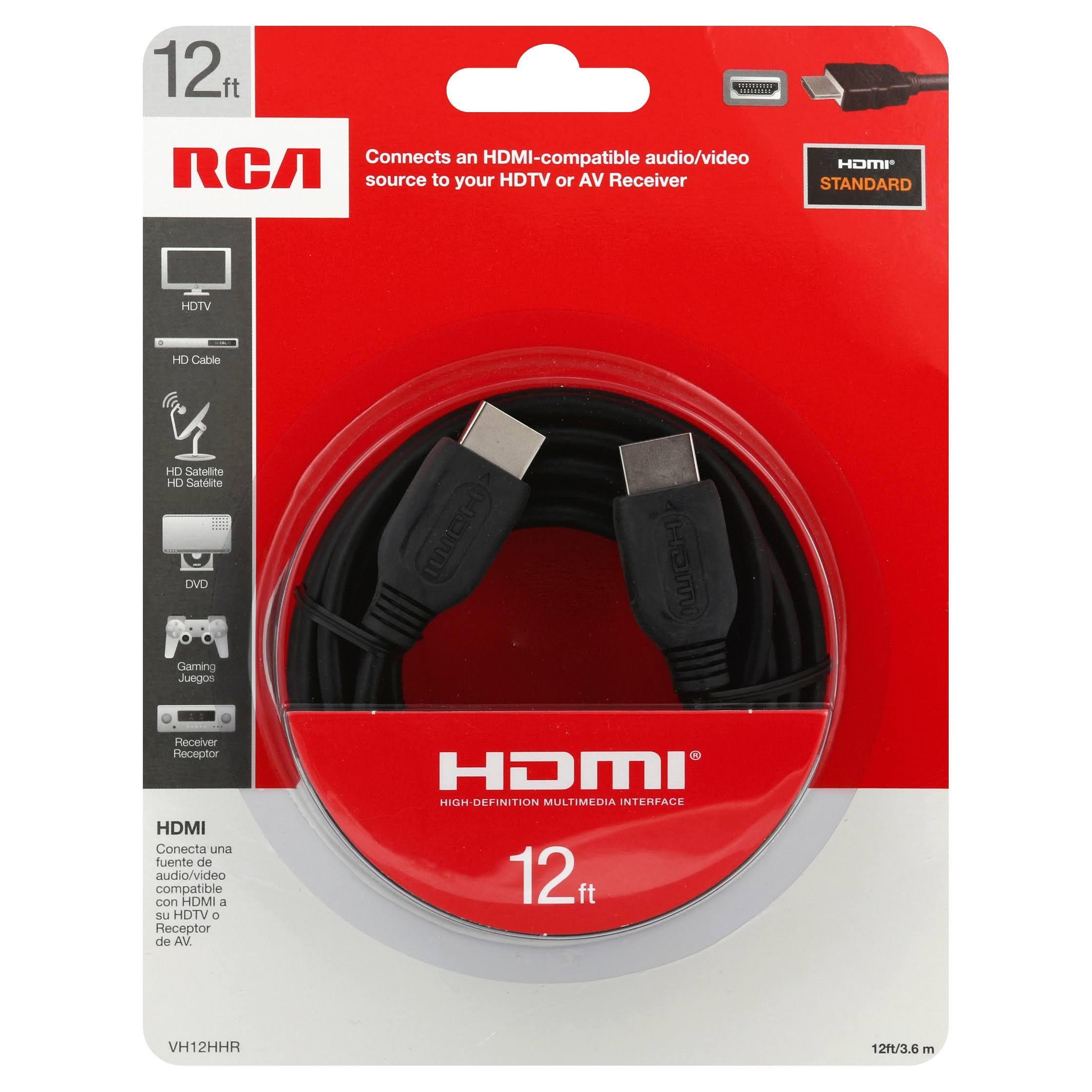 RCA HDMI Cable - Gold Plated, Black, 12ft