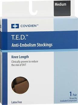 Kendall T.E.D. Anti-Embolism Stockings Knee Length Closed Toe Beige Medium Regular