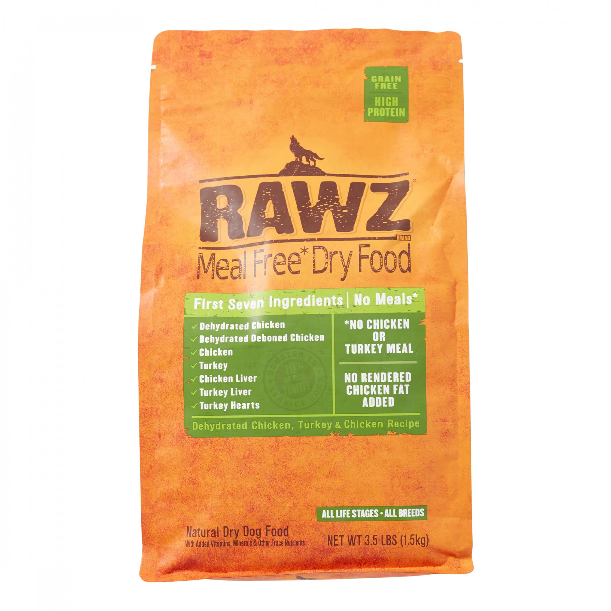 Rawz Meal Free Dry Dog Food - Dehydrated Chicken Turkey and Chicken Recipe, 3.5oz