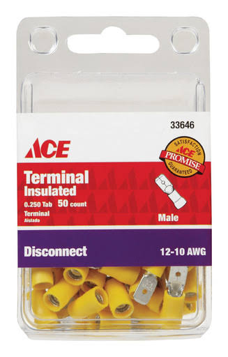 ACE 33646 Insulated Male Tab Disconnect Terminals - Yellow, 12 to 10 AWG