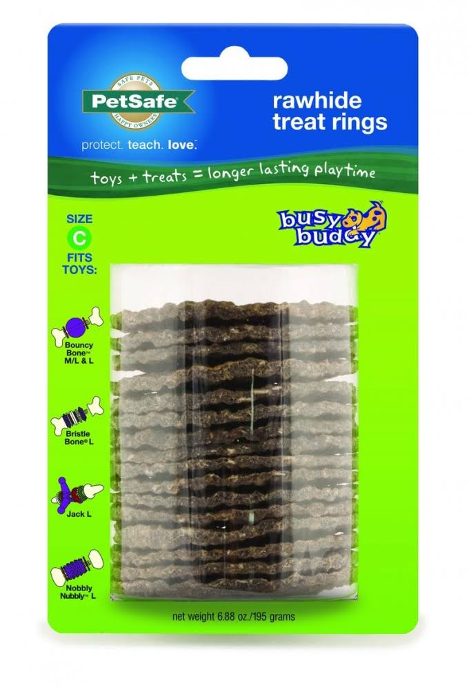Petsafe Premier Busy Buddy Gnawhide Refill Ring Dog Treats - for Bristle or Bouncy Bones, Rawhide