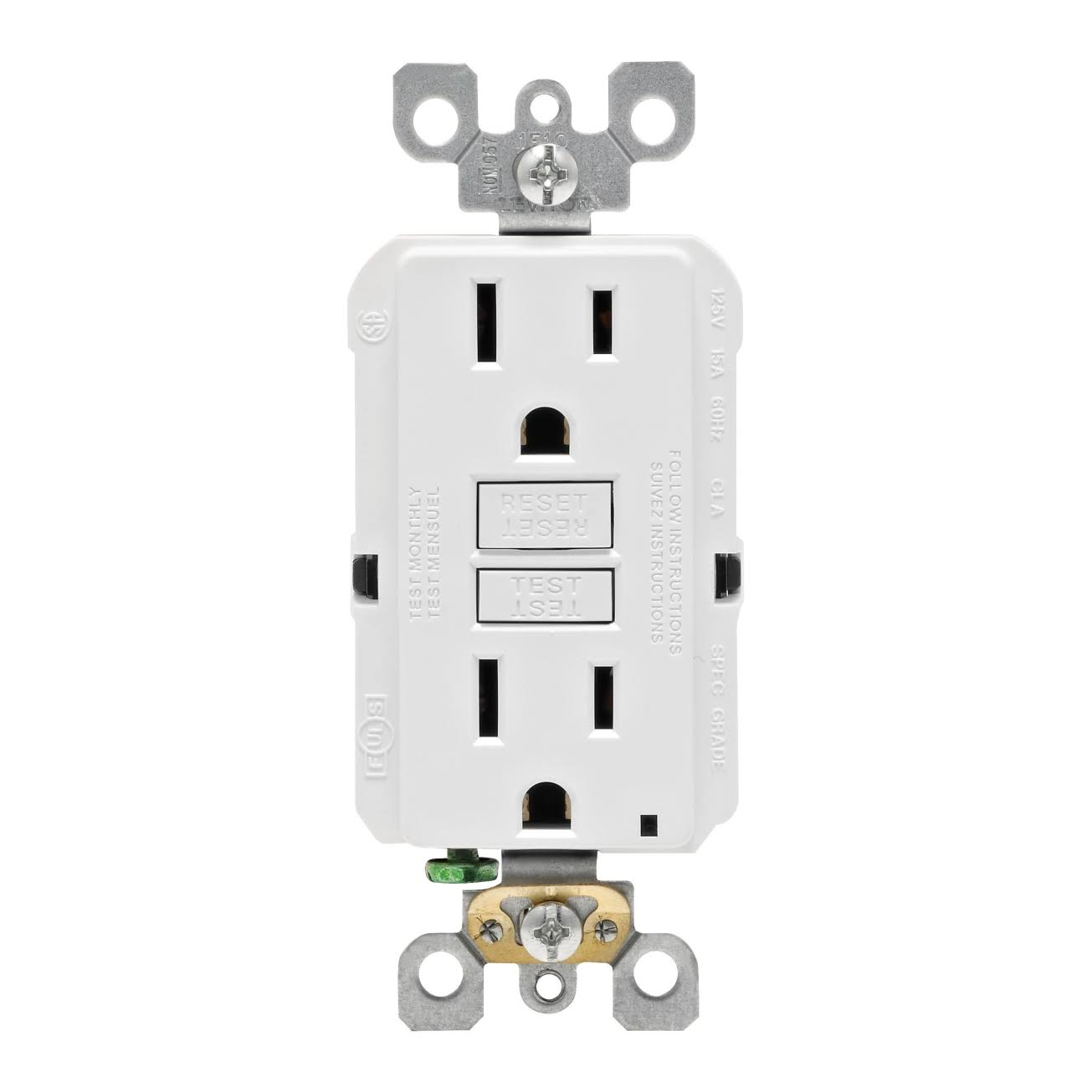 Leviton GFCI Outlet - White, 15A, 125V