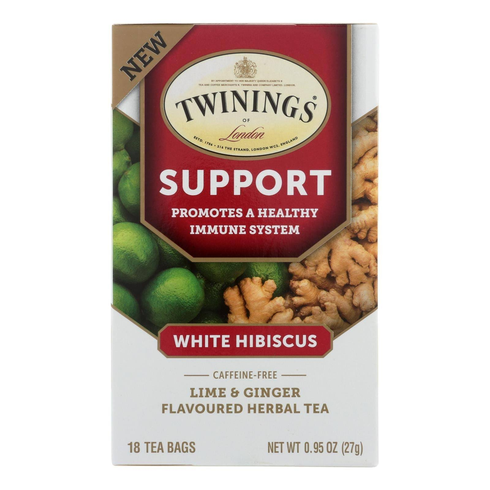Twinings Herbal Tea, White Hibiscus, Lime & Ginger Flavoured, Caffeine-Free, Tea Bags - 18 bags, 0.95 oz