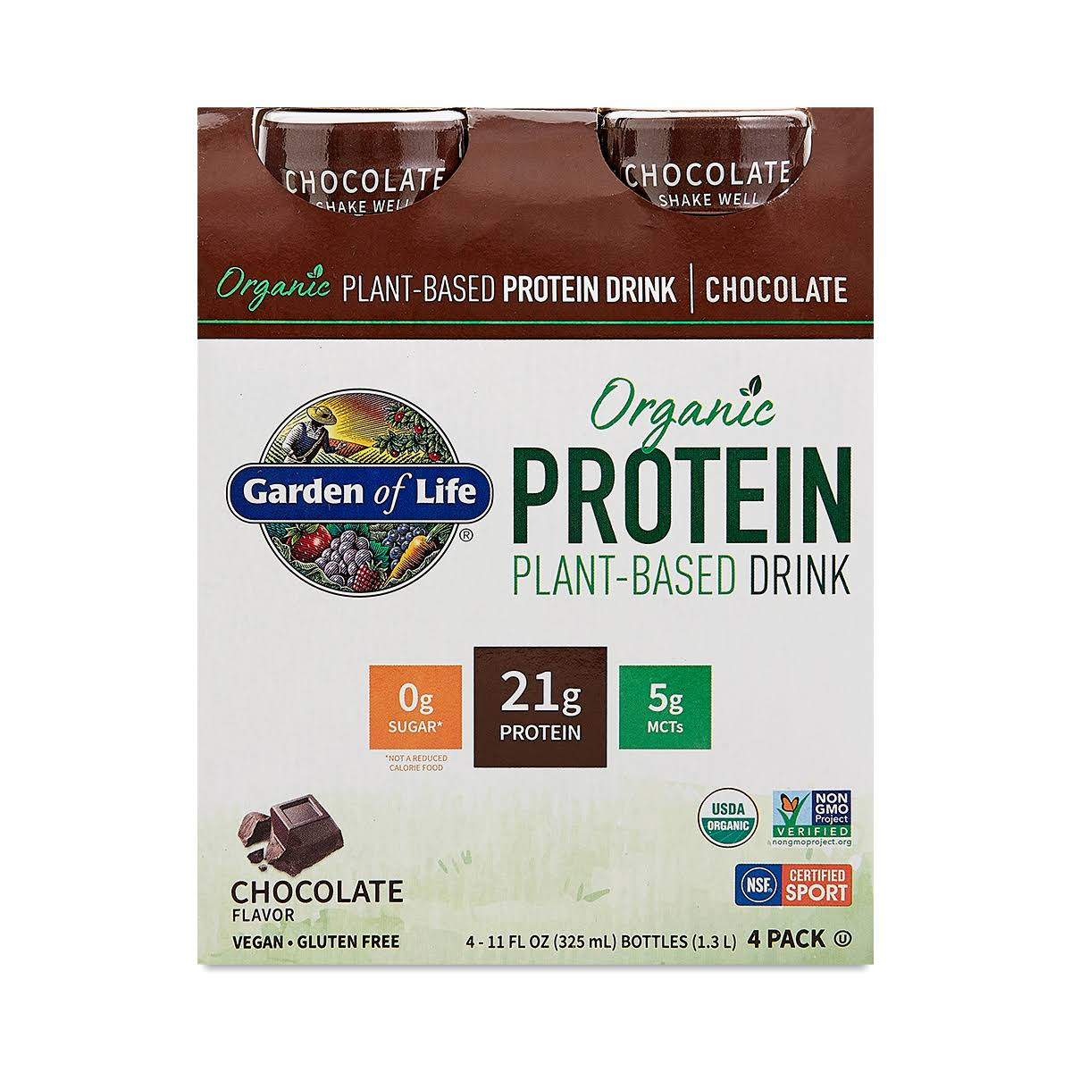 Garden Of Life Protein Drink, Organic, Chocolate, Plant-Based, 4 Pack - 4 pack, 11 fl oz bottles