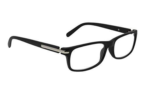 Dr. Dean Edell Unisex Modern Rectangle Black Front and Temples Reading Glass
