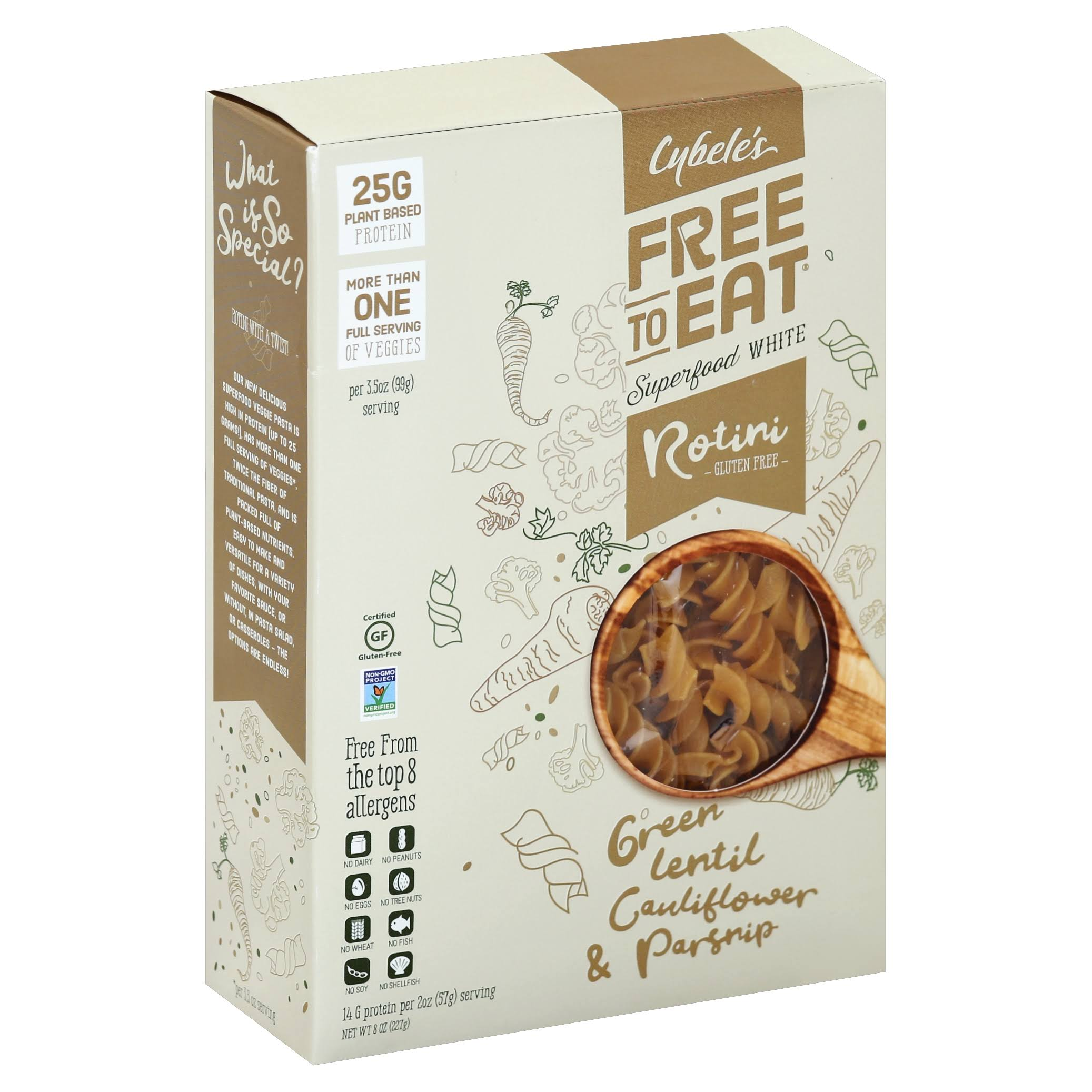 Cybele's Free-to-Eat Superfood White Veggie Pasta - 228g, Green Lentil Cauliflower & Parnsip