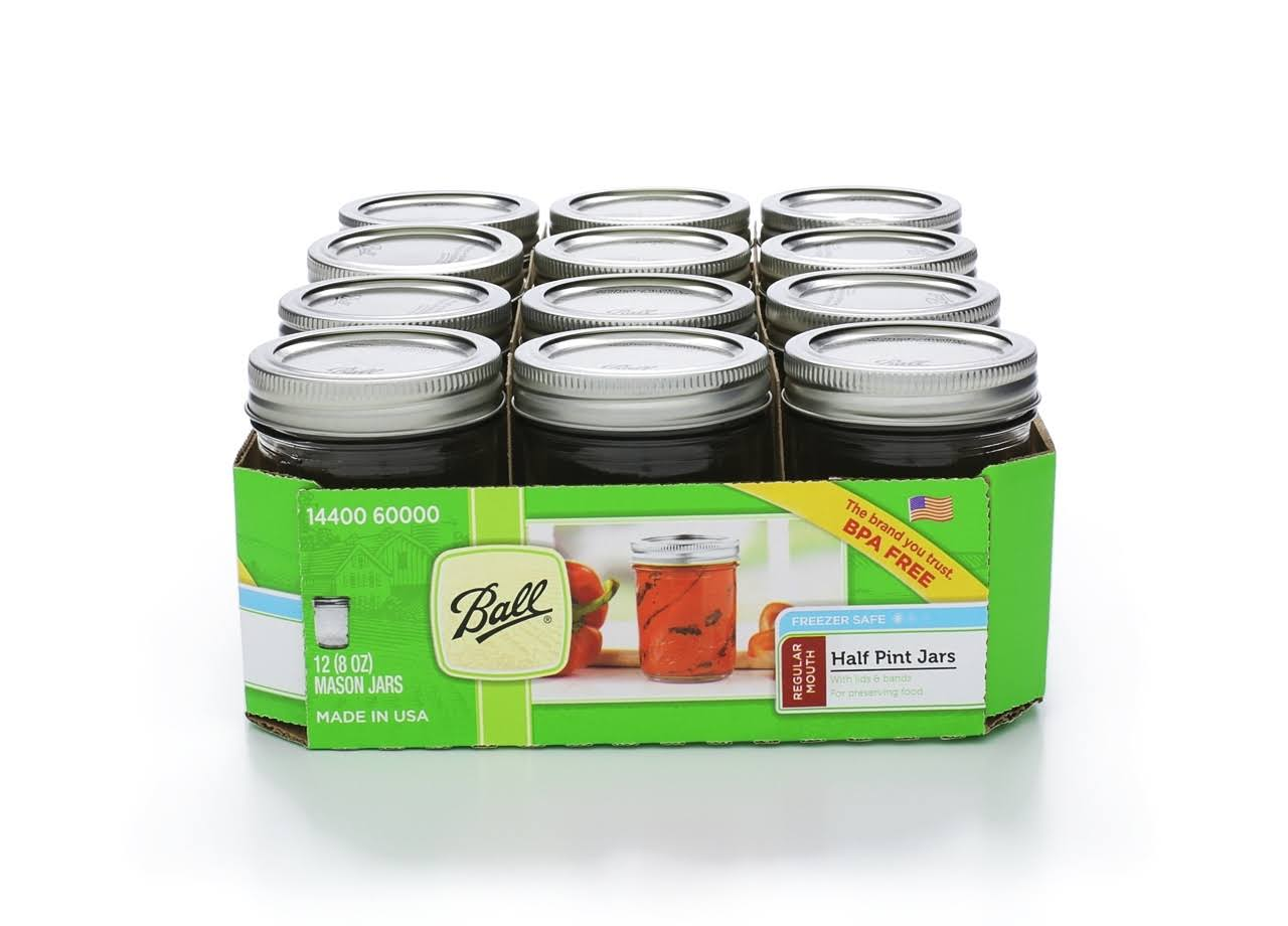 Ball Regular Mouth Mason Jars, Half Pint - 12 count