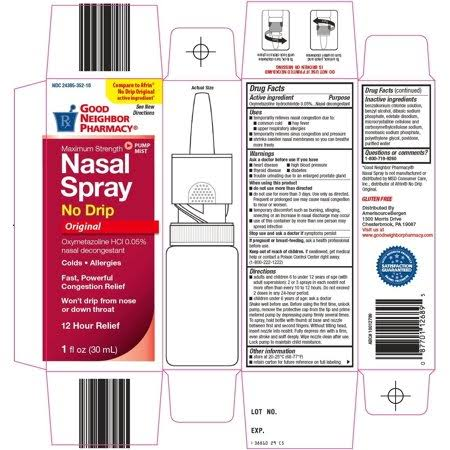 GNP Good Neighbor Pharmacy Nasal 12H Extra Moisturizing Spray 1oz