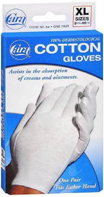 Cara Cotton Gloves, XL (sizes 9 1/2 - 10 1/2)