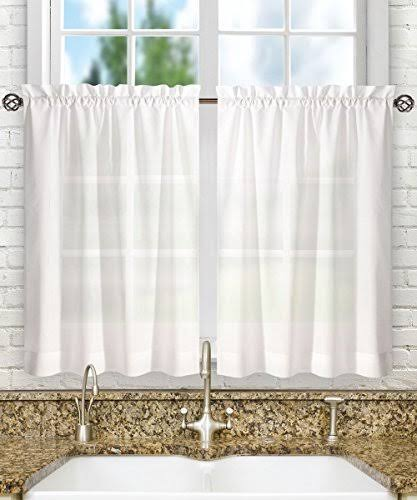 Ellis Curtain Stacey 56-By-36 inch Tailored Tier Pair Curtains, White, 56X36