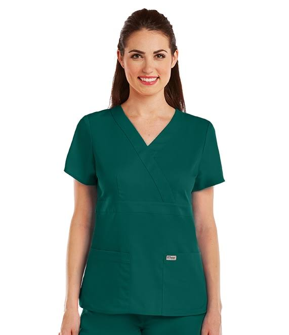 Grey's Anatomy Women's 4153 3 Pocket Mock Wrap Scrub Top, Hunter Green