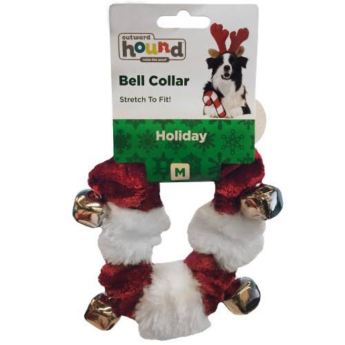 Outward Hound Red & White Holiday Bell Dog Collar - Medium