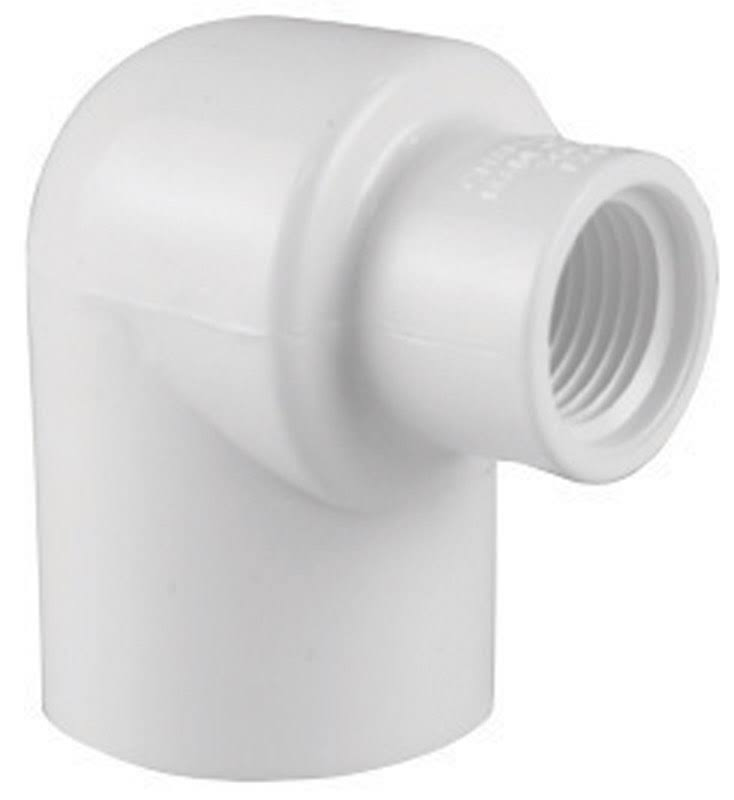 "Charlotte PVC Schedule 40 Pipe Elbow - 1/2"" FPT x 3/4"""