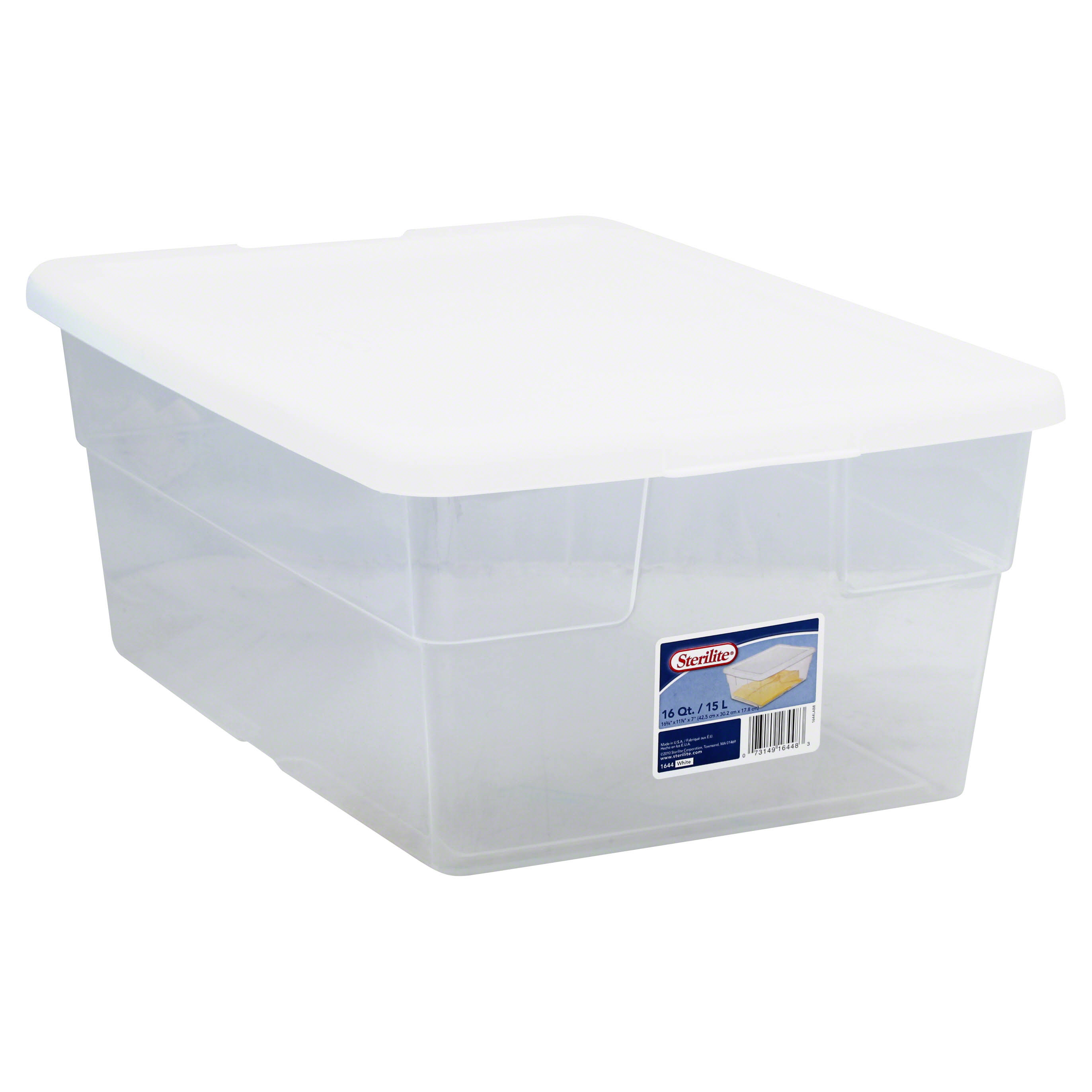 Sterilite Basic Clear Storage Box - with White Lid, 16 Quart