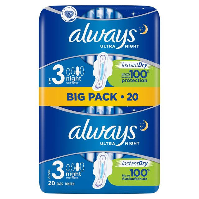Always Ultra Night Sanitary Pads - 20pk