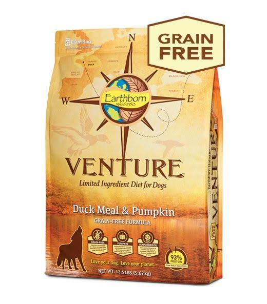Earthborn Holistic Grain Free Venture Duck Meal & Pumpkin Lid Dog Food 25 lbs