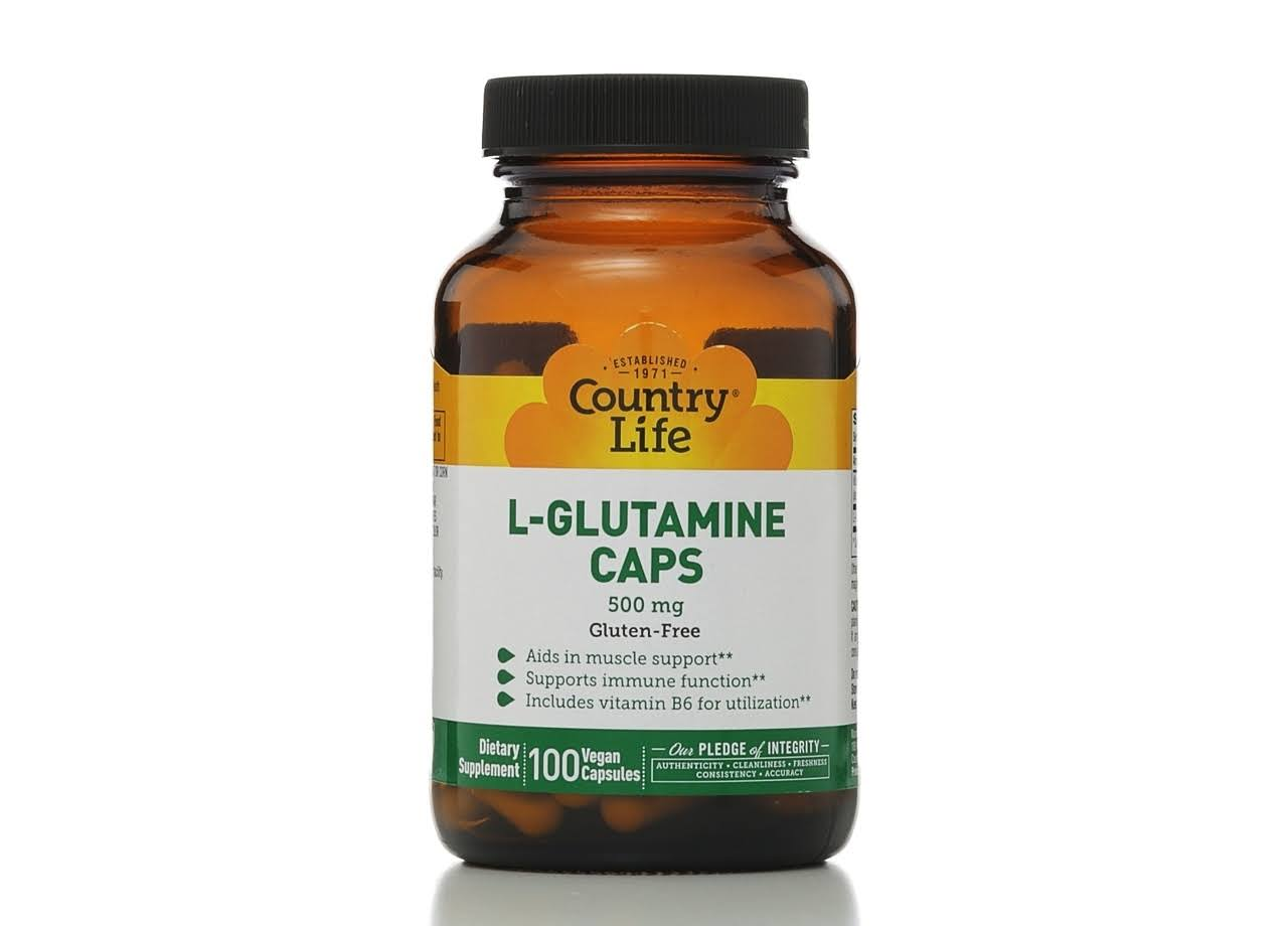 Country Life L-Glutamine Caps - 500mg, 100 Vegetarian Capsules