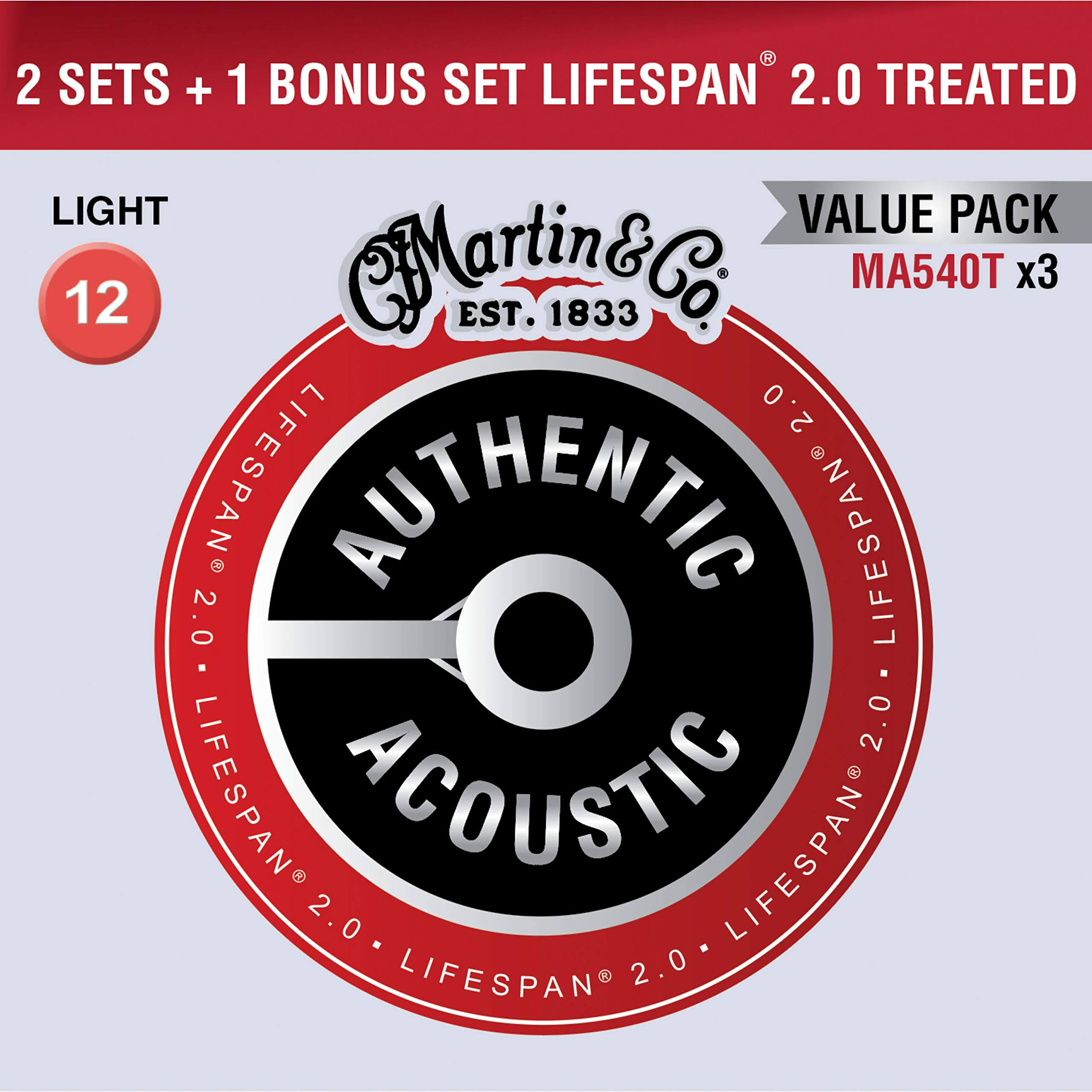 Martin Authentic Acoustic Value Pack Lifespan 2.0 Light Strings - Set of 3