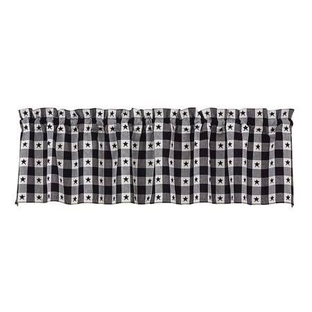 "Park Design Checkerboard Star Lined Curtain Valance - Black and White, 60"" x 14"""