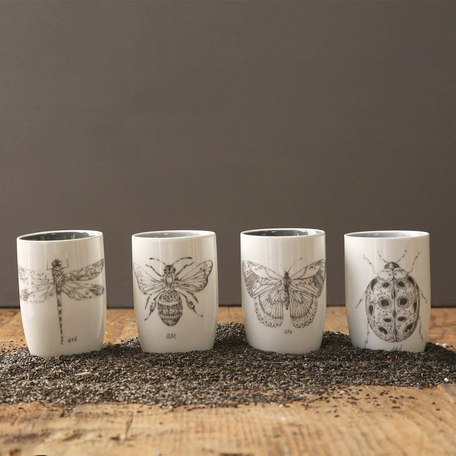 Creative Co-op Garden Insect 4 Piece Juice Glass Set