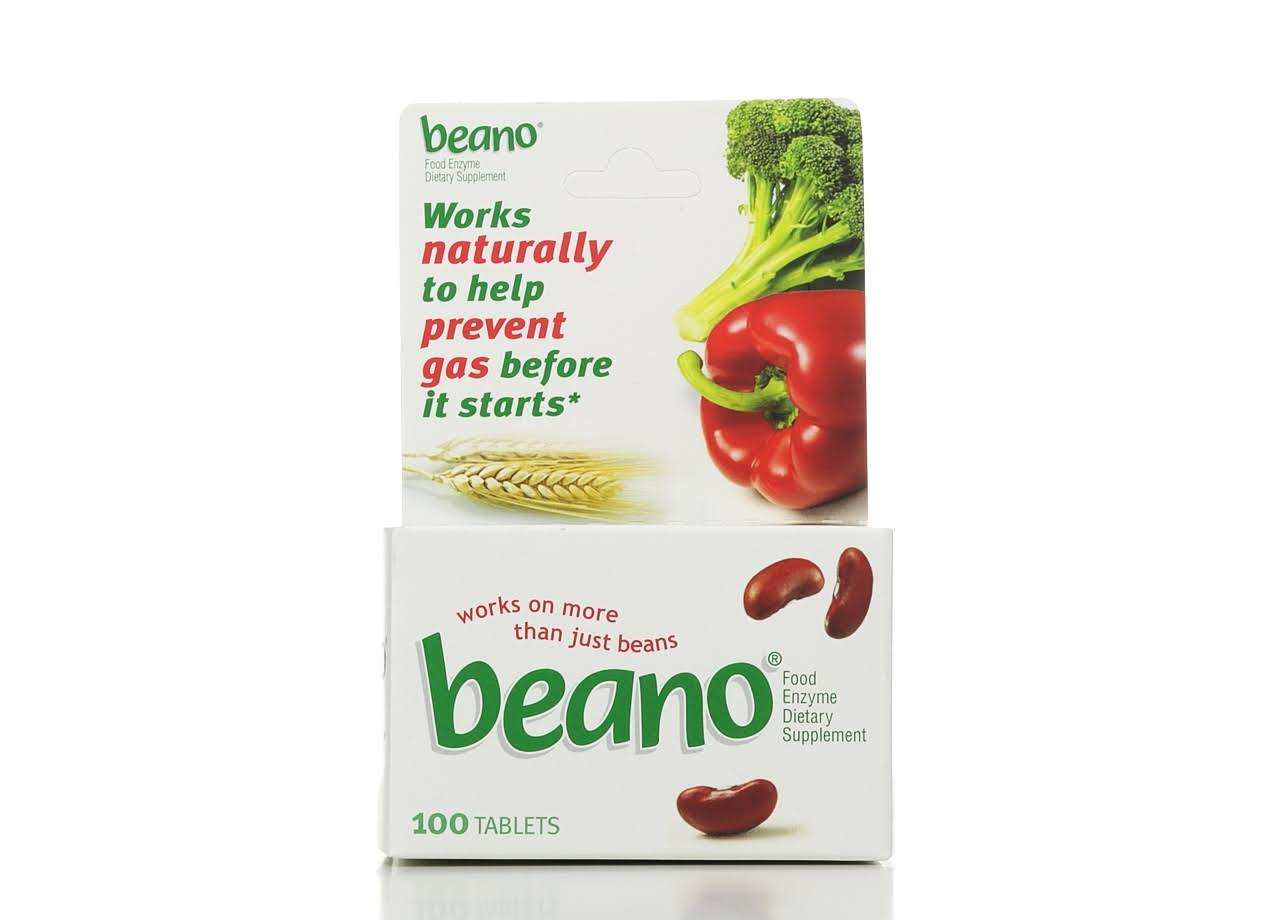 Beano Food Enzyme Dietary Supplement - 100 Tablets