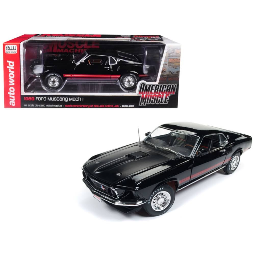 1969 Ford Mustang Mach 1 Raven Black with Red Stripes Hemmings Muscle